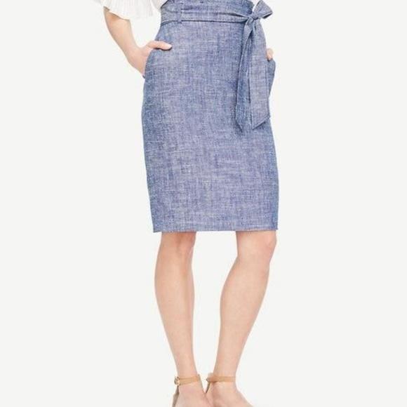 1f230767d8 Ann Taylor Dresses & Skirts - Ann Taylor Chambray Paper Bag Skirt Tie Waist